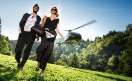 A Couple Exits Their Private Helicopter Vals Switzerland 7132 Hotel Spa