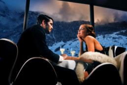 Couple dining at Silver, a two Michelin Star restaurant, 7132 Hotel Vals, Switzerland