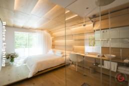 Hotel Interior Photography - Before Lighting - 7132 Hotel, Kengo Kuma Room