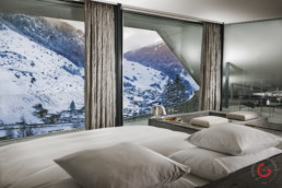 Hotel Photographer of Kengo Kuma Suite Winter View At 7132 Hotel, Vals Switzerland