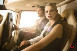 Luxury Lifestyle Photographer Couple in Private Helicopter