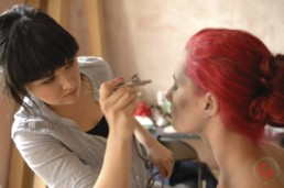 Creature Makeup Artist LuAndra Whitehurst Airbrushes Vampire Looks on Model - Eternal Beauties