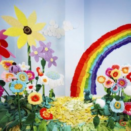Sunny Crochet Landscape - Yarnography - Colorful Characters in Crochet Art by Gina Gallina - Photography Concepts by Jeremy Mason McGraw