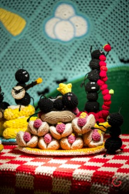 Crochet Art - Ant Picnic by Gina Gallina