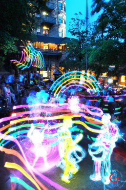 Music in The Park, Light Painting Photography from Public Art Project Electric Vision - Eureka Springs, Arkansas
