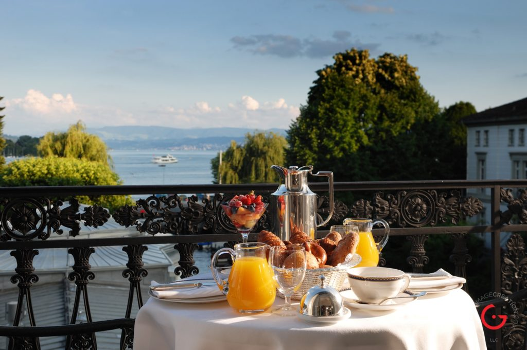 Baur au Lac Breakfast on The Terrace, View of Lake Zurich