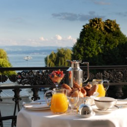Baur au Lac Breakfast on The Terrace of Suite, View of Lake Zurich