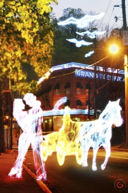Horse Drawn Carriage by the Grand Central Hotel, Light Painting Photography from Public Art Project Electric Vision - Eureka Springs, Arkansas