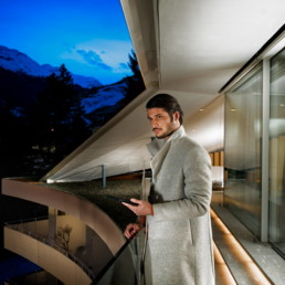 James Bond Style Man at Kengo Kuma 7132 Hotel Suite, Hotel Photographer - Vals Switzerland