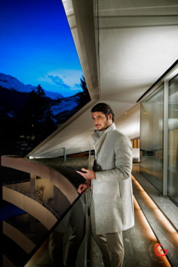 James Bond Style Man at Kengo Kuma 7132 Hotel Suite, Vals Switzerland