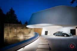 Hotel Photographers, Luxury Hotel Photography, Resort Photographer Evening Drive Entrance Pritzker Prize Award Winning Architect Thom Mayne 7132 Hotel, Vals Switzerland