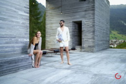 Happy Couple at 7132 Hotel Therme Vals Spa Photography - Pritzker Prize Award Winning Architecture Peter Zumthor