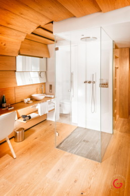 Hotel Room Photography of Kengo Kuma Room Bathroom - 7132 Hotel Vals, Switzerland