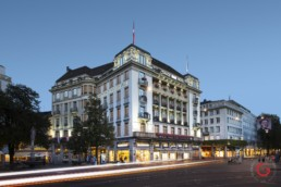 Hotel Photographer of Savoy Baur en Ville Facade Architecture, Zurich Switzerland