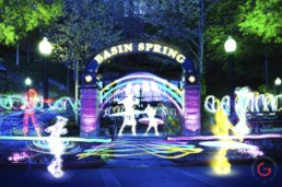 Light Painting Photography of Hula Hoop Party from Public Art Project Electric Vision - Eureka Springs, Arkansas