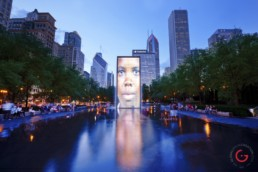 Night View of Chicago Public Art at Millennium Park - Travel Photography