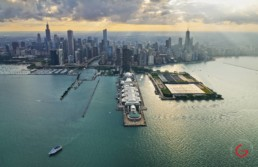 Aerial Photography Chicago Skyline from Over The Lake
