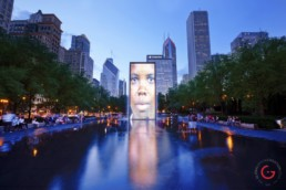 Night Photography of Millennium Park Chicago Public Art