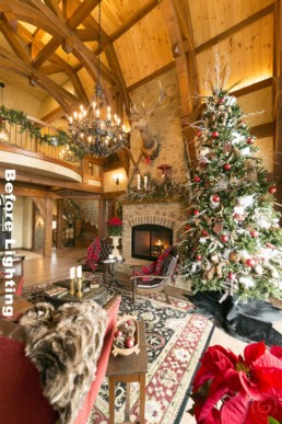 Interior Photographer - Before Lighting - Timber Frame Home, Ron Hill