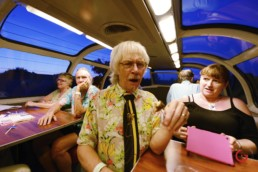 Artist Zeek Taylor Reluctantly Tries a Sanderson's Meal Pop on the Sensory Iconoclast Art Train
