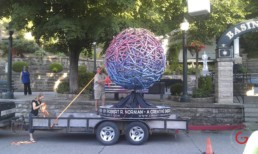 Sphere Sculpture Delivered to Basin Park in Downtown Eureka Springs, Arkansas