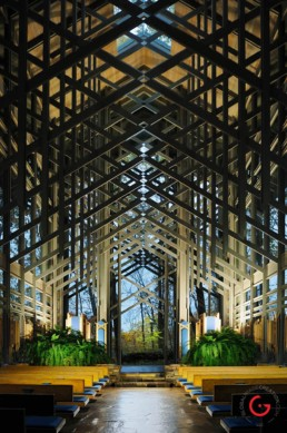 Thorncrown Chapel Interior, Evening View - Eureka Springs, Arkansas Photography