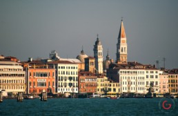 Luxury Hotel Danieli in the Venice Skyline from the Venetian Lagoon