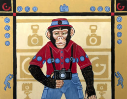 Global Image Creation Chimp by Eureka Springs Arkansas Artist Zeek Taylor