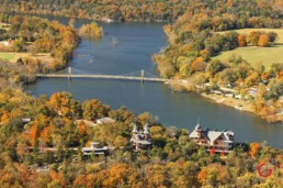 Castle Rogues Manor and The Beaver Bridge from the Air - Eureka Springs, Arkansas Photography