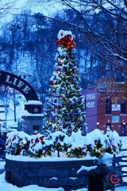 Basin Park Christmas Tree in the Snow - Eureka Springs, Arkansas Photography
