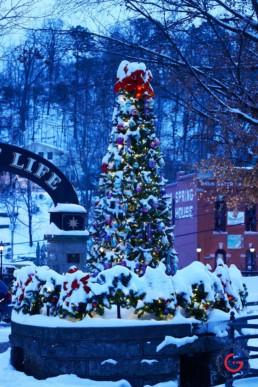 Basin Park Christmas Tree in the Snow - Eureka Springs, Arkansas Photography
