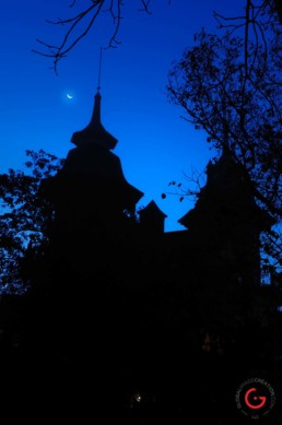 Castle Rogues Manor and the Moon - Eureka Springs, Arkansas Photography