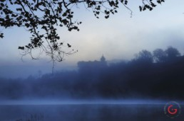 Castle Rogues Manor and the White River in the Fog - Eureka Springs, Arkansas