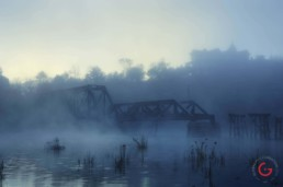 Castle Rogues Manor and the White River Rail Bridge in the Fog -Eureka Springs, Arkansas Photography