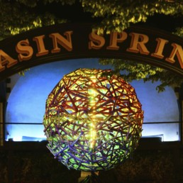 Sphere in the Basin Park at Night - Eureka Springs, Arkansas Photography