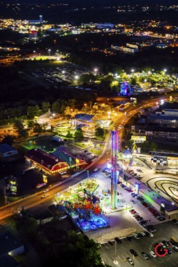 Night Time Aerial View of Hwy 76 - Branson, Missouri