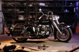 Classic Harley in Garage - Professional Car Photographer, Automotive Photography