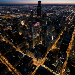 Aerial Photography of Downtown Chicago at Night - Photographer Lifestyle Photography Wardrobe Stylist