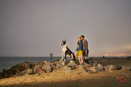 Couple Enjoys Time With Dog on San Francisco Bay - Professional Photographer Lifestyle Photography Wardrobe Stylist