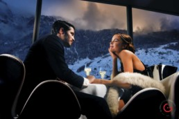 Couple enjoys a romantic evening in front of a spectacular view of the mountains - Photographer Lifestyle Photography Wardrobe Stylist