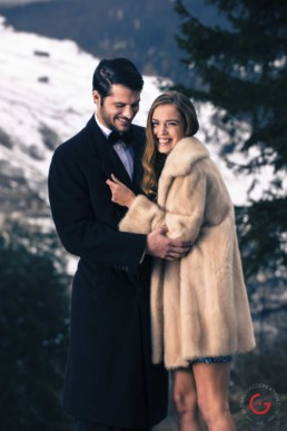 Well Dressed Couple Takes in The Fresh Winter Air in the Mountains - Professional Photographer Lifestyle Photography Wardrobe Stylist