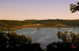 Sun sets on hwy 86 Bridge over table rock lake. - Advertising photographers in Branson Missouri, Branson Missouri photography