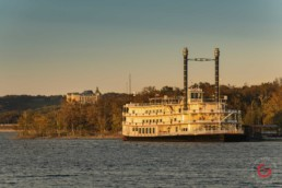 Chateau on the Lake from boat on Table Rock Lake. Showboat Branson Belle in foreground. - Advertising photographers in Branson Missouri, Branson Missouri photography