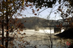 Morning mist, low on the water under the hwy 86 bridge near Branson, MO. - Advertising photographers in Branson Missouri, Branson Missouri photography