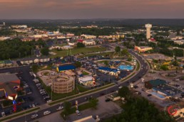 Aerial View of Hwy 76 Near the Track and Presleys Theater - Advertising photographers in Branson Missouri, Branson Missouri photography