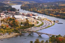 Downtown Branson, Branson landing and lake Tanycomo from the air. - Advertising photographers in Branson Missouri, Branson Missouri photography