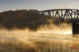Morning fog wafts under the hwy 86 bridge near Branson, MO. - Advertising photographers in Branson Missouri, Branson Missouri photography