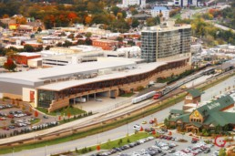 Aerial view of the Branson Convention Center and the Branson Hilton. The train tracks and the bass pro shop can also be seen. - Advertising photographers in Branson Missouri, Branson Missouri photography