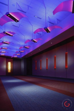 Branson Convention Center banquet space with violet and magenta colored ceiling. - Advertising photographers in Branson Missouri, Branson Missouri photography