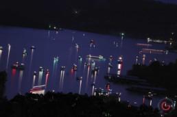 Lit up boats on table rock lake at night. - Advertising photographers in Branson Missouri, Branson Missouri photography